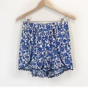Pants - H&M Tassle Shorts Fringe Floral Blue Size 10 Boho